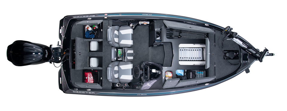 2020 Skeeter ZX200 Bass Boat For Sale overhead image with storage compartments open.