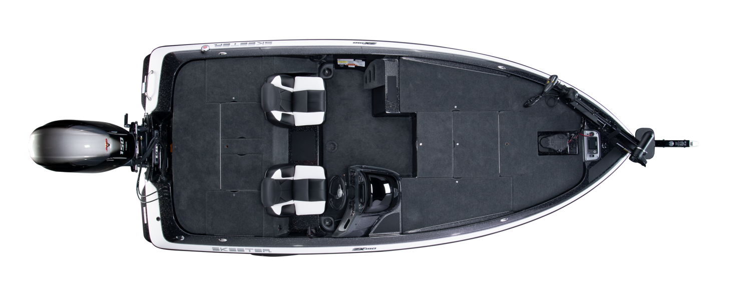 2020 Skeeter ZX190 Bass Boat For Sale overhead image with storage compartments closed.