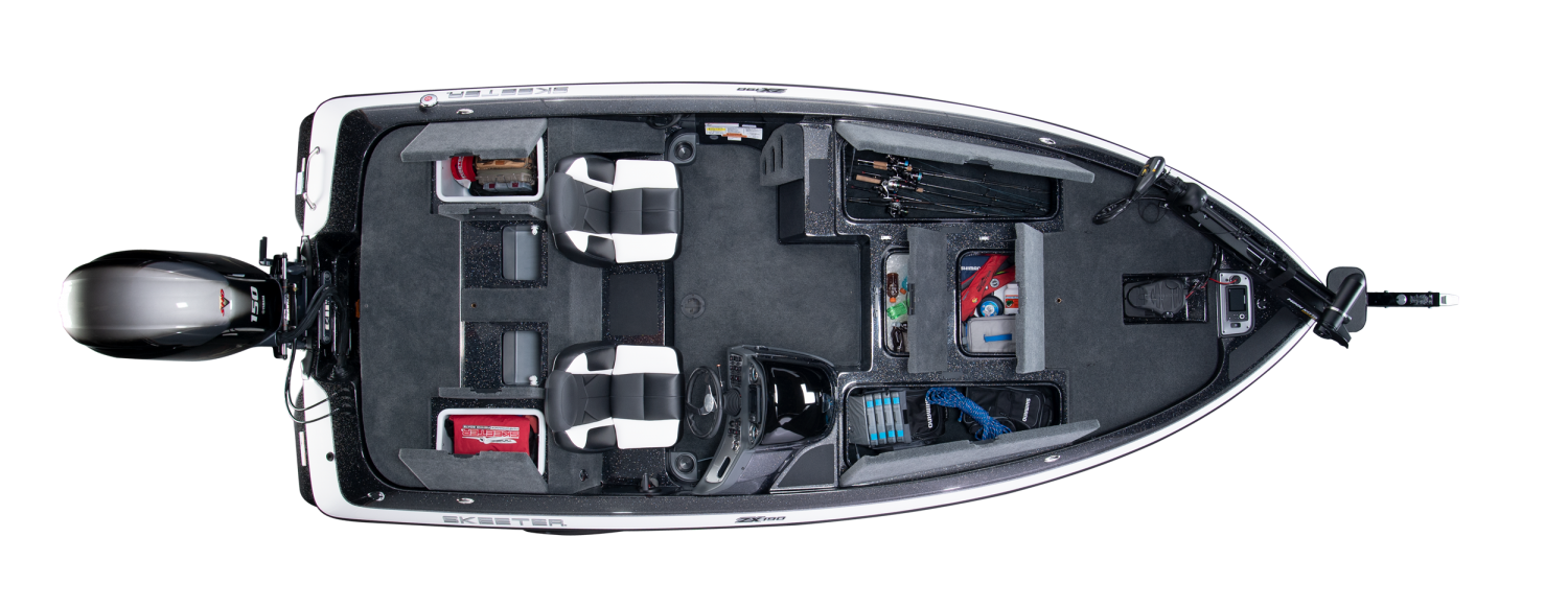 2020 Skeeter ZX190 Bass Boat For Sale overhead image with storage compartments open.