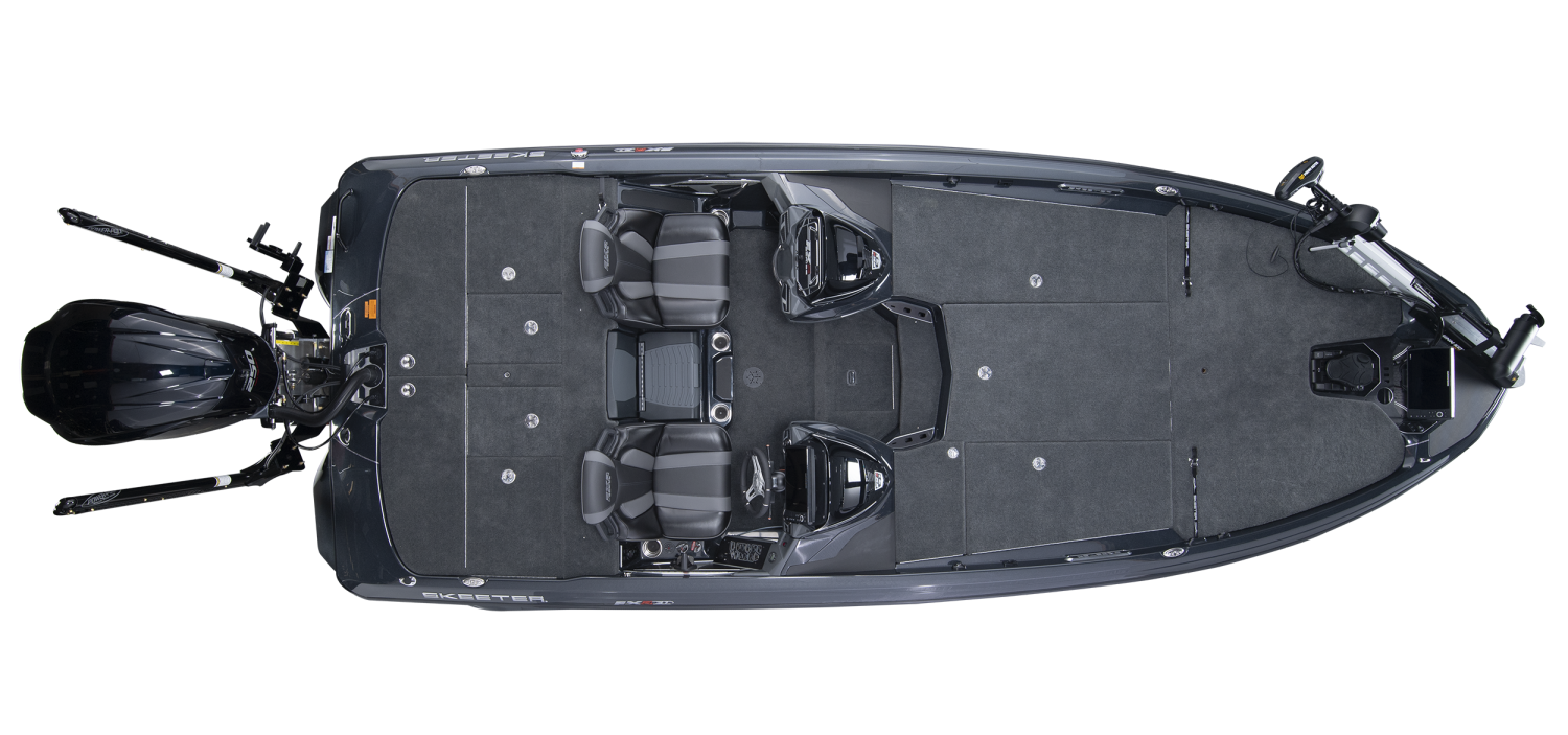 2020 Skeeter FXR21 APEX Bass Boat For Sale overhead image with storage compartments closed.