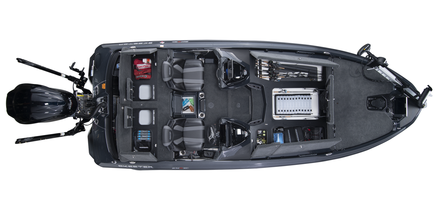2020 Skeeter FXR21 APEX Bass Boat For Sale overhead image with storage compartments open.