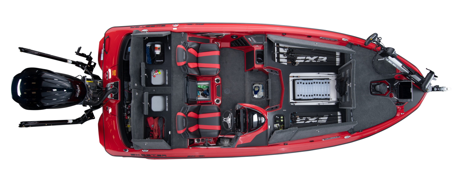 2020 Skeeter FXR20 APEX Bass Boat For Sale overhead image with storage compartments open.