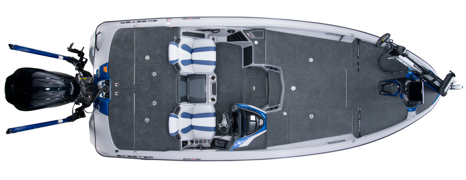 2020 Skeeter FXR20 LIMITED Bass Boat For Sale overhead image with storage compartments closed.