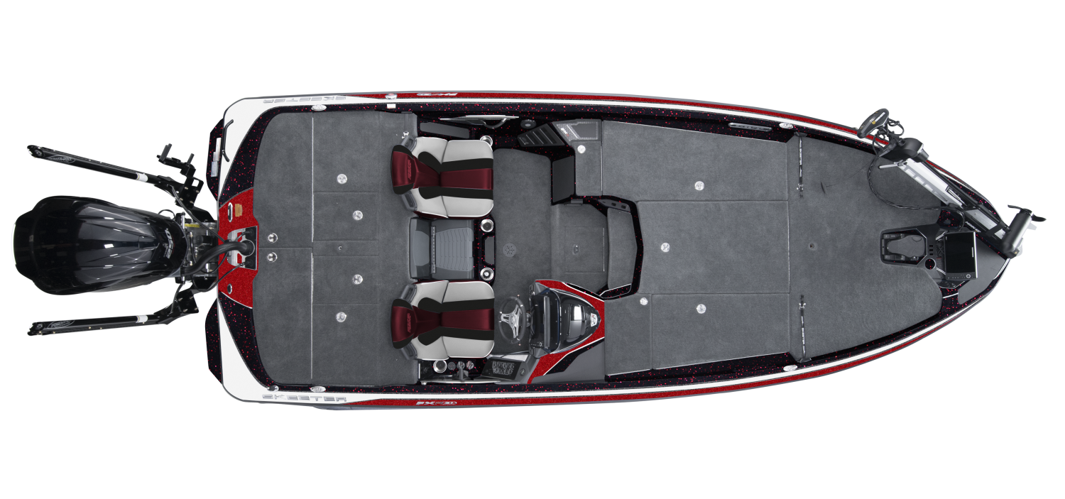 2020 Skeeter FXR21 Bass Boat For Sale overhead image with storage compartments closed.