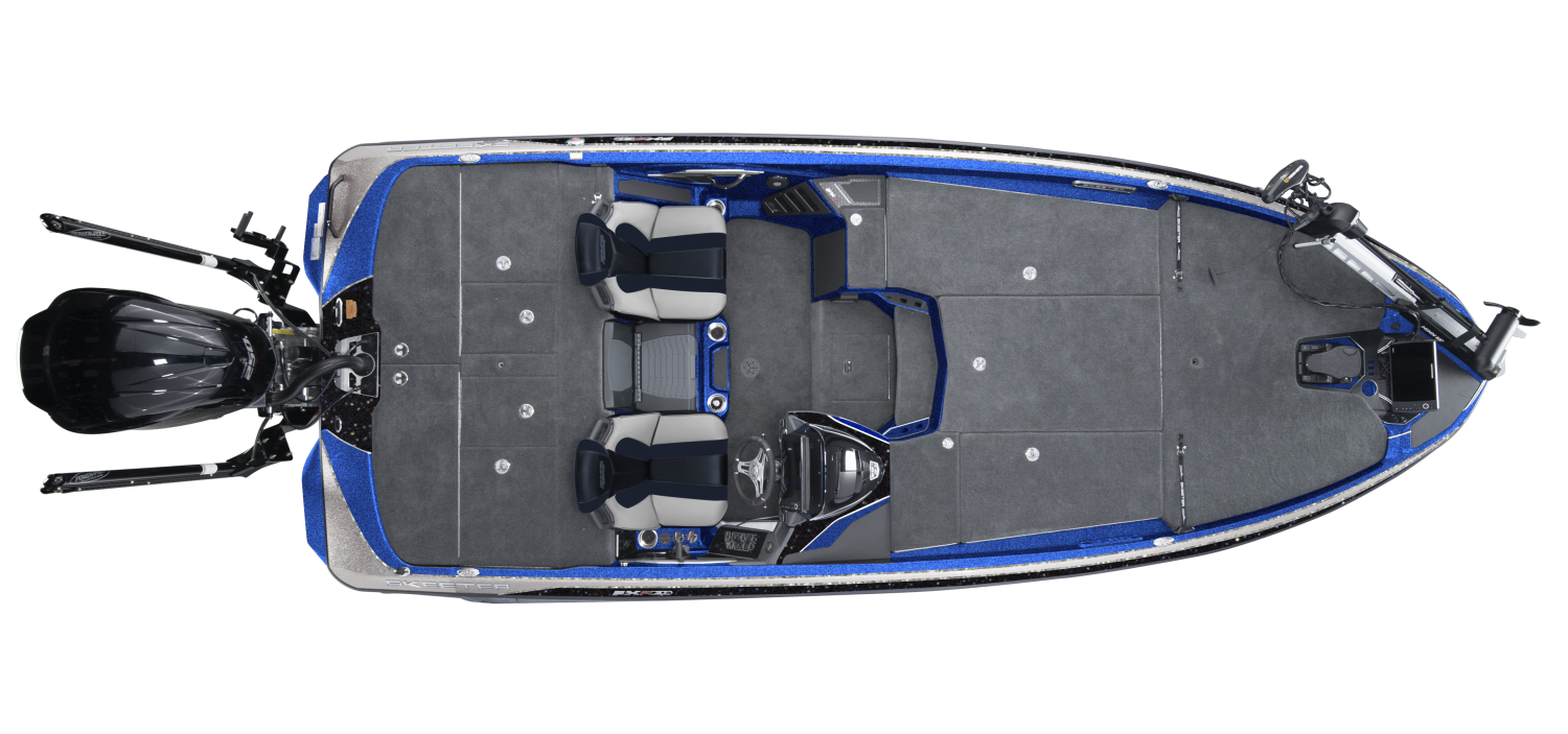 2020 Skeeter FXR20 Bass Boat For Sale overhead image with storage compartments closed.