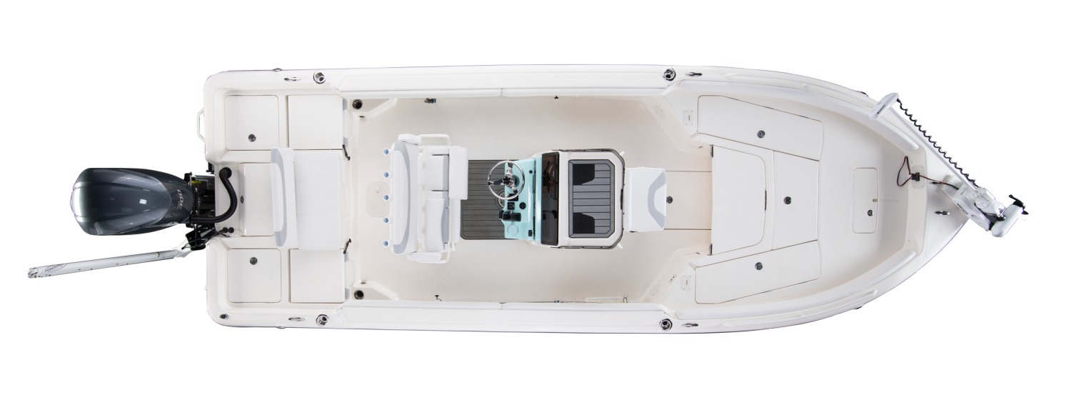 2020 Skeeter SX2550 - FISH Bay Boat For Sale overhead image with storage compartments closed.