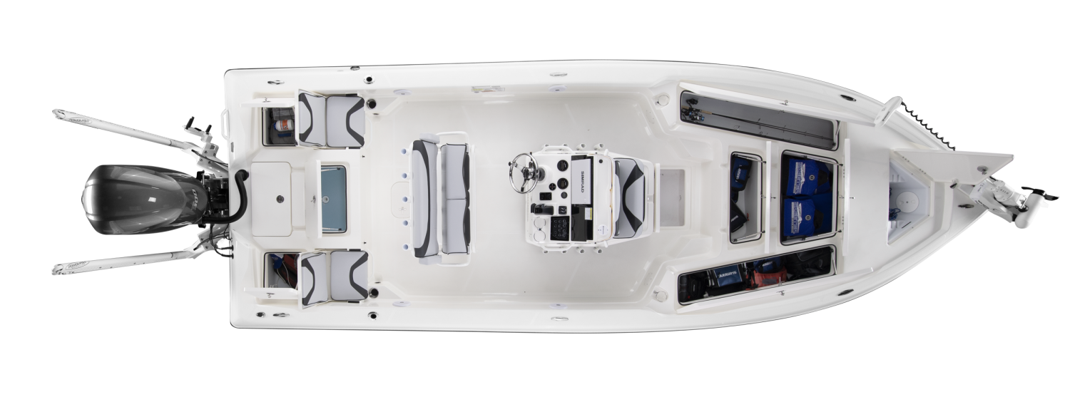 2020 Skeeter SX240 Bay Boat For Sale overhead image with storage compartments open.