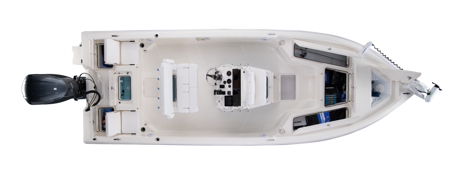 2020 Skeeter SX230 Bay Boat For Sale overhead image with storage compartments open.