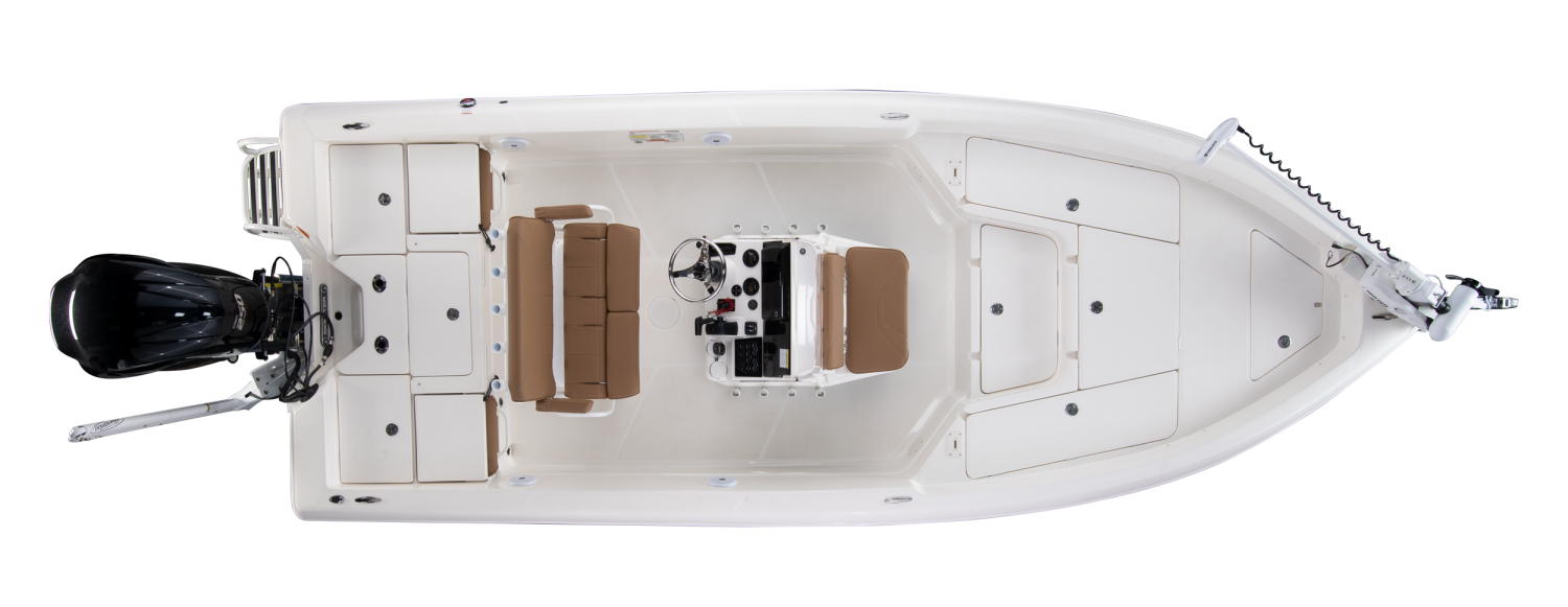 2020 Skeeter SX2250 Bay Boat For Sale overhead image with storage compartments closed.