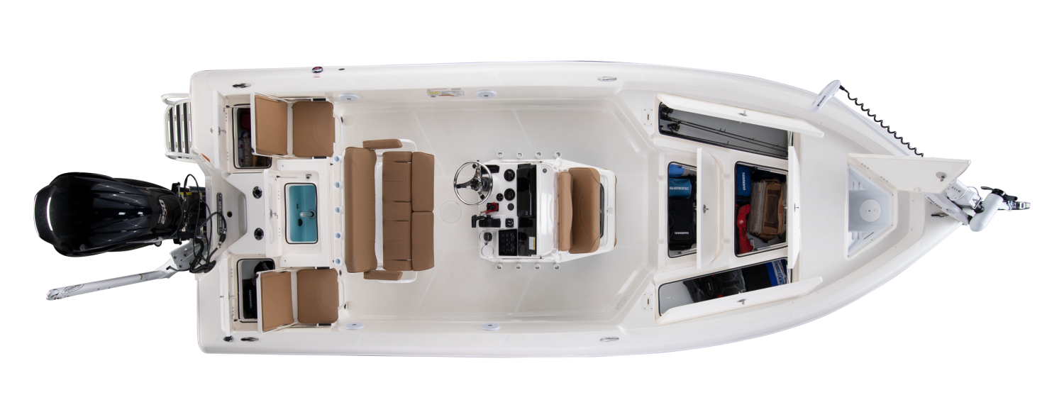 2020 Skeeter SX2250 Bay Boat For Sale overhead image with storage compartments open.
