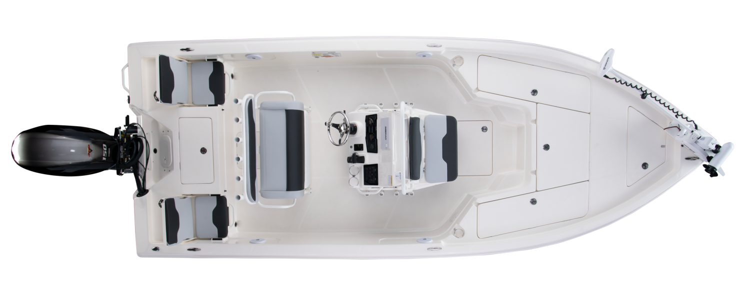 2020 Skeeter SX210 Bay Boat For Sale overhead image with storage compartments closed.
