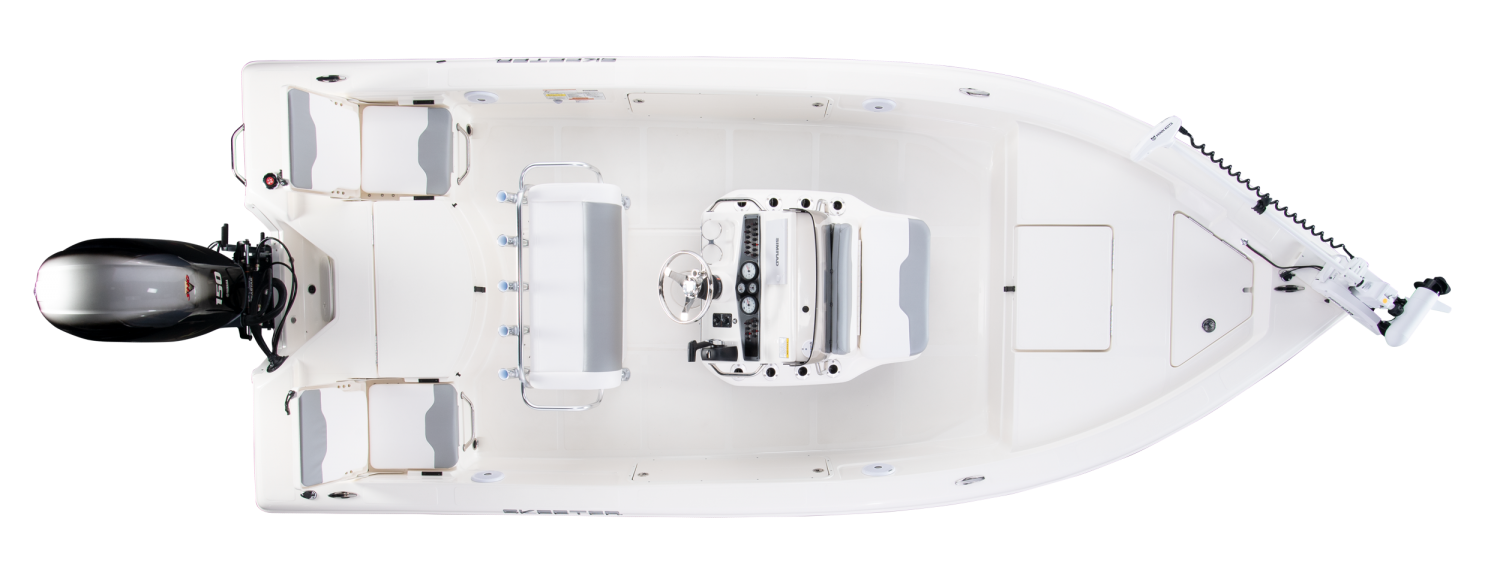 2020 Skeeter SX200 Bay Boat For Sale overhead image with storage compartments closed.