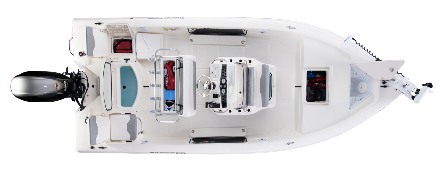 2020 Skeeter SX200 Bay Boat For Sale overhead image with storage compartments open.
