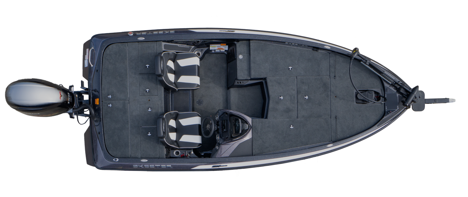 2020 Skeeter ZX150 Bass Boat For Sale overhead image with storage compartments closed.