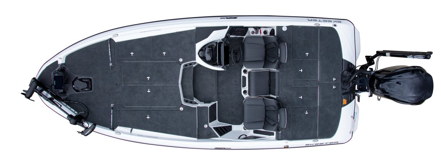2021 Skeeter ZXR 20 Bass Boat For Sale overhead image with storage compartments closed.
