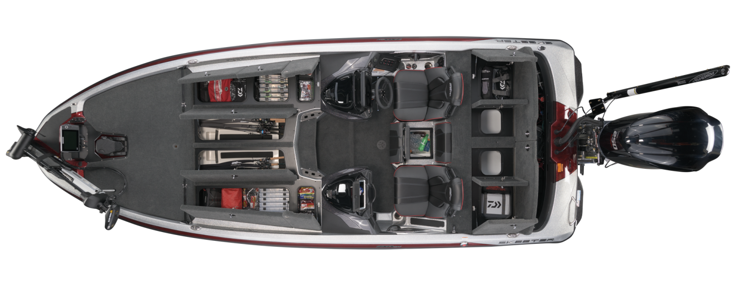 2021 Skeeter ZXR 21 Bass Boat For Sale overhead image with storage compartments open.