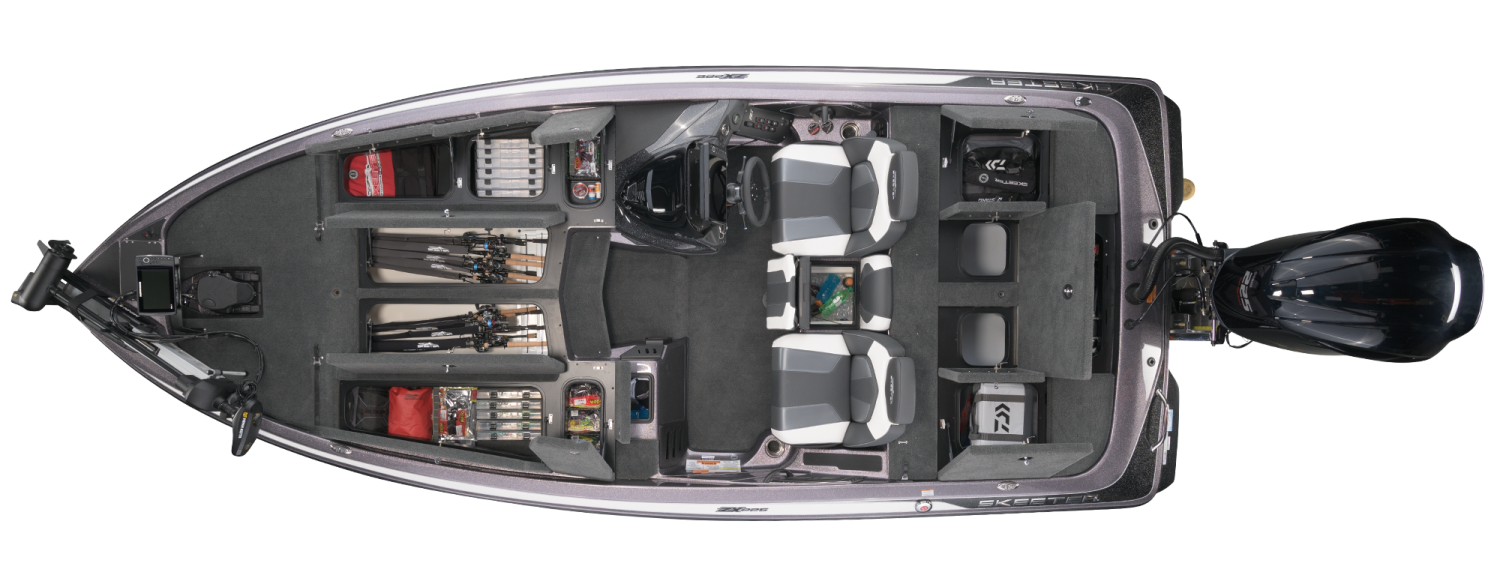 2021 Skeeter ZX225 Bass Boat For Sale overhead image with storage compartments open.