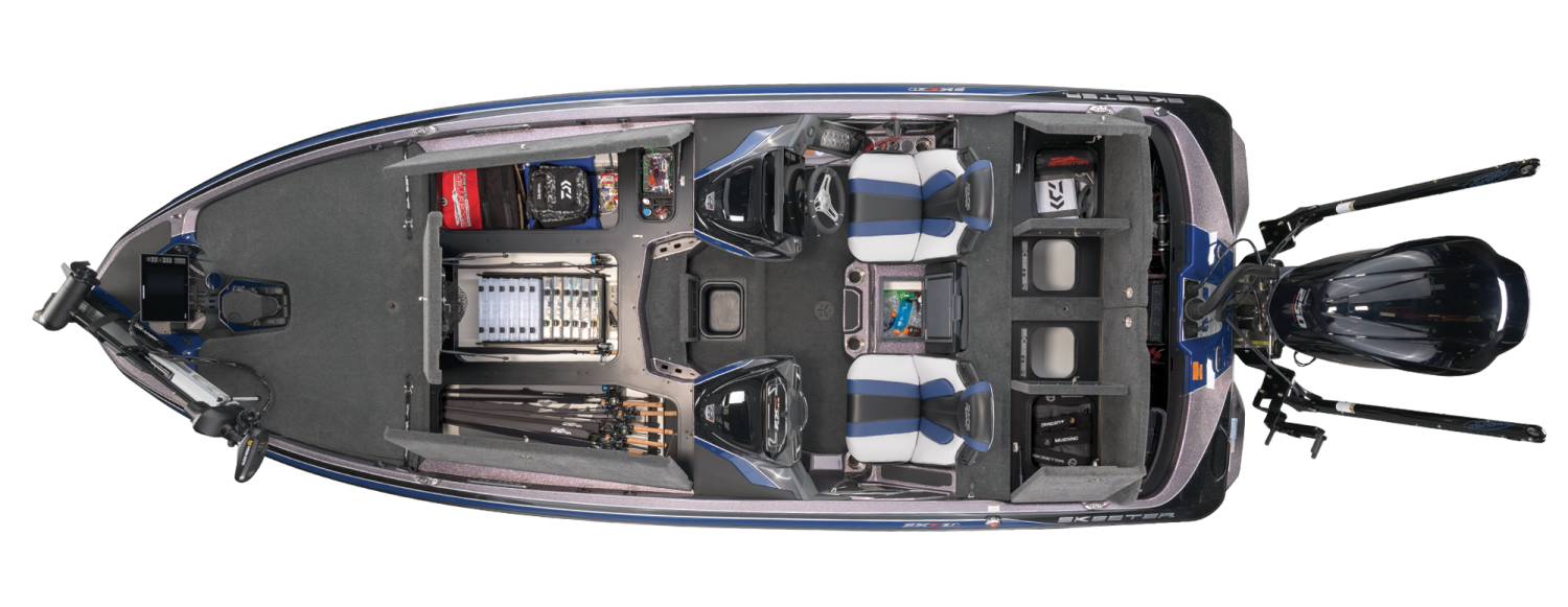 2021 Skeeter FXR21 APEX Bass Boat For Sale overhead image with storage compartments open.