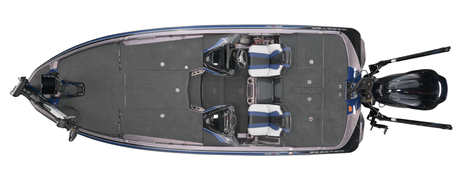2021 Skeeter FXR21 APEX Bass Boat For Sale overhead image with storage compartments closed.