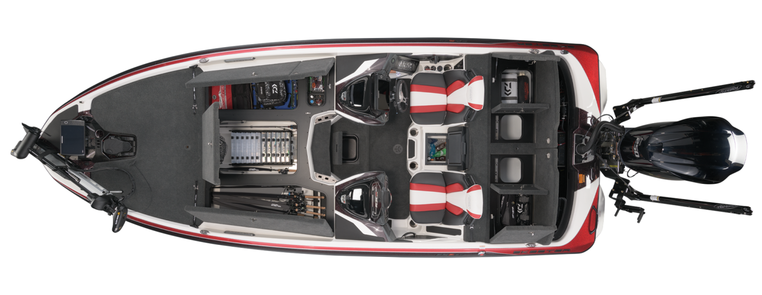 2021 Skeeter FXR21 LIMITED Bass Boat For Sale overhead image with storage compartments open.