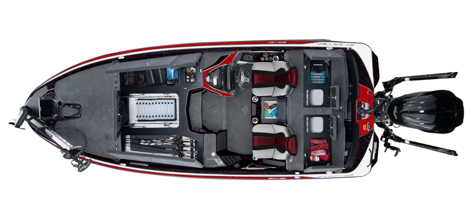2021 Skeeter FXR21 Bass Boat For Sale overhead image with storage compartments open.