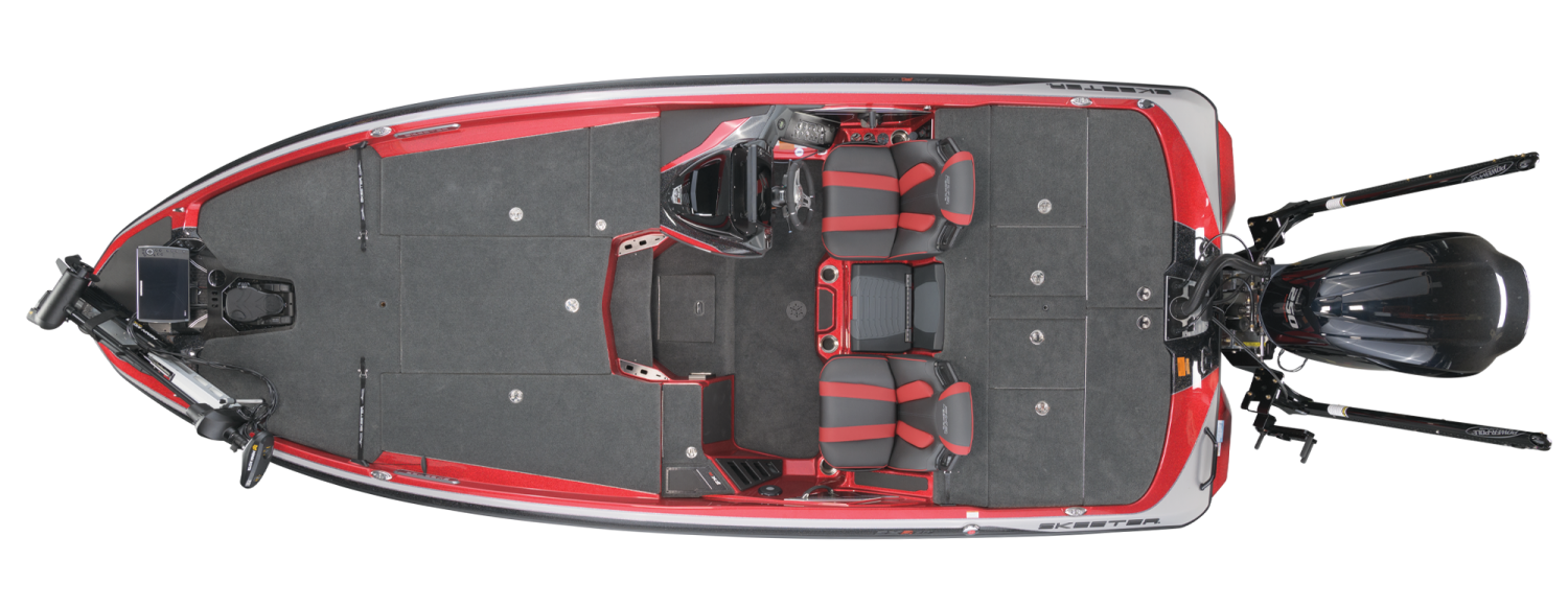 2021 Skeeter FXR20 Bass Boat For Sale overhead image with storage compartments closed.