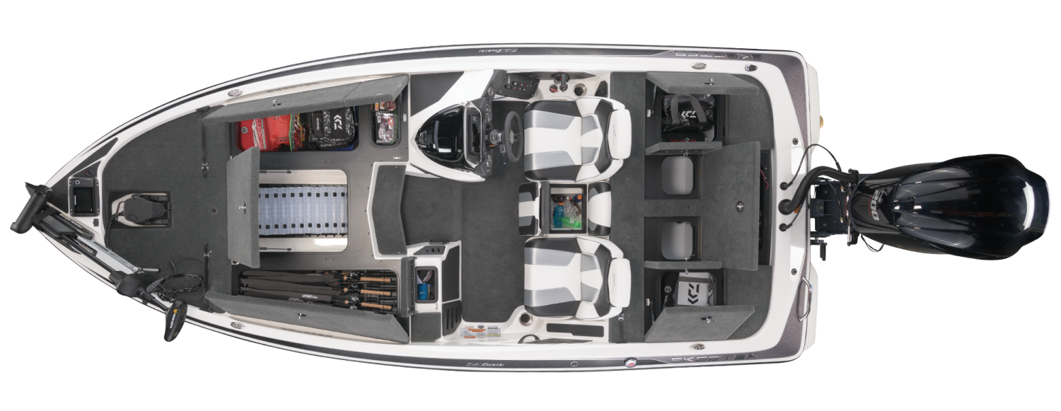 2021 Skeeter ZX200 Bass Boat For Sale overhead image with storage compartments open.