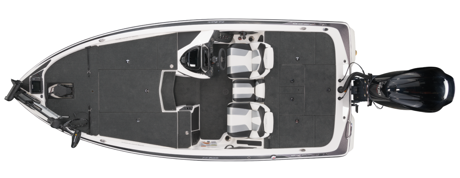 2021 Skeeter ZX200 Bass Boat For Sale overhead image with storage compartments closed.