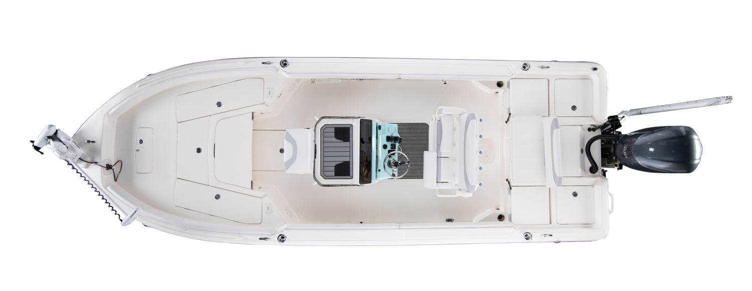 2021 Skeeter SX2550 FAMILY Bay Boat For Sale overhead image with storage compartments closed.