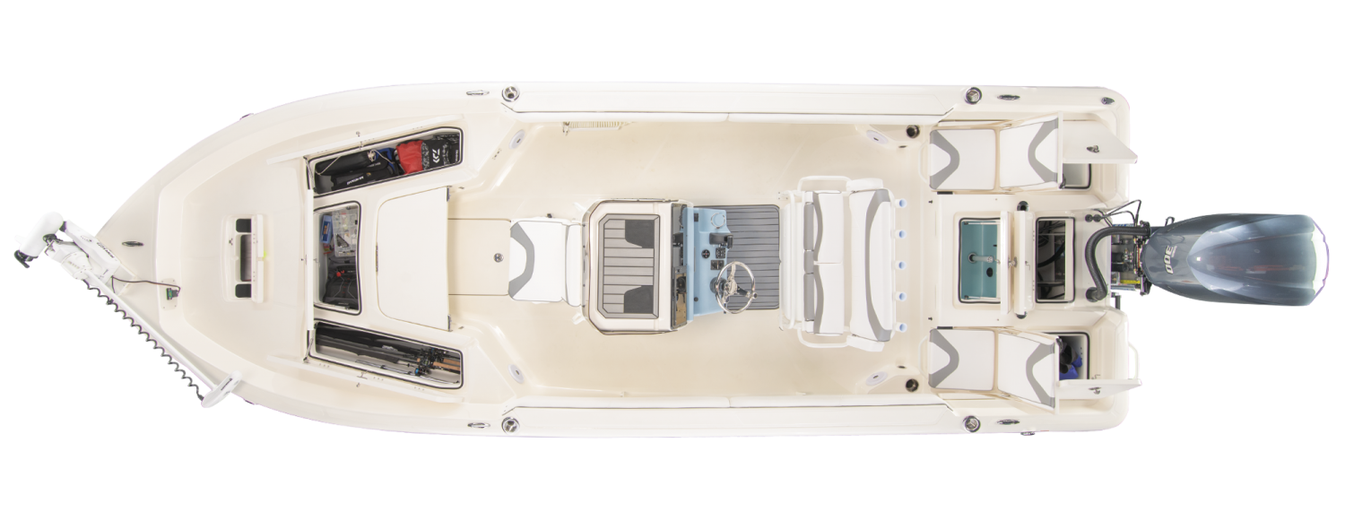 2021 Skeeter SX2550 FISH Bay Boat For Sale overhead image with storage compartments open.
