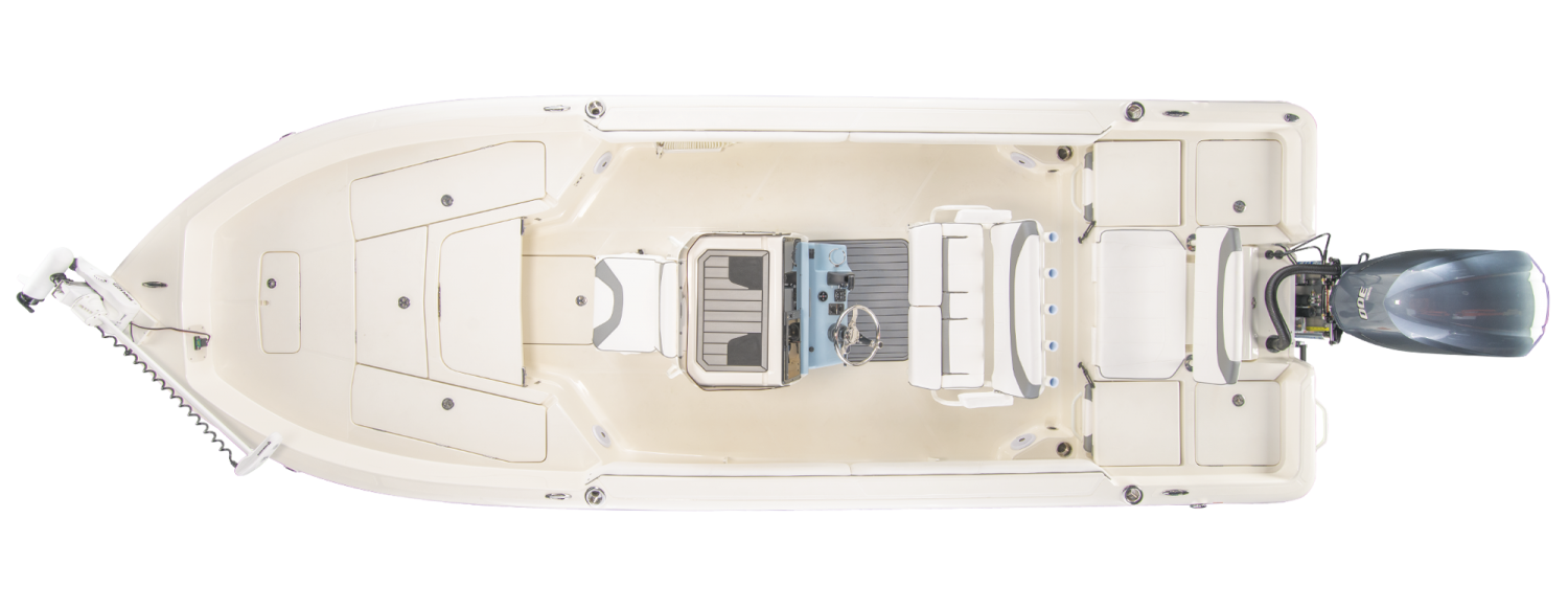 2021 Skeeter SX2550 FISH Bay Boat For Sale overhead image with storage compartments closed.