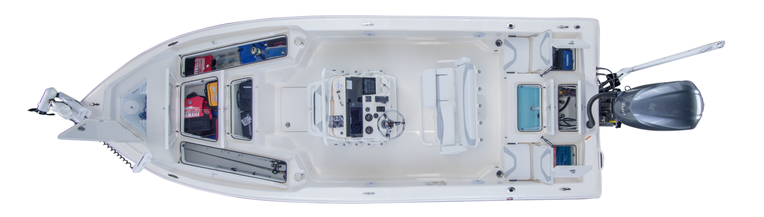 2021 Skeeter SX240 Bay Boat For Sale overhead image with storage compartments open.