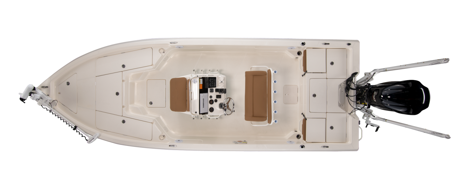 2021 Skeeter SX230 Bay Boat For Sale overhead image with storage compartments closed.