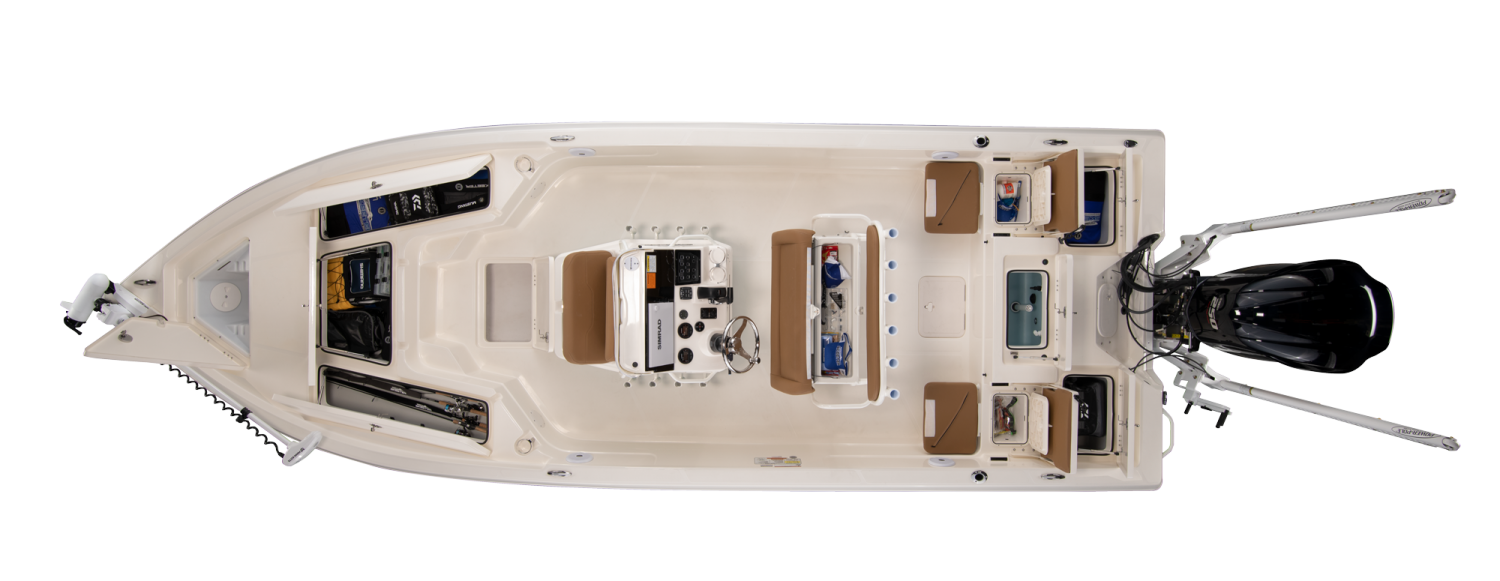 2021 Skeeter SX230 Bay Boat For Sale overhead image with storage compartments open.