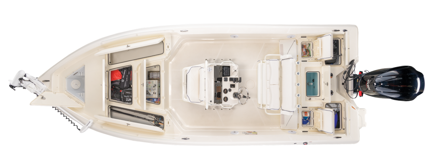 2021 Skeeter SX2250 Bay Boat For Sale overhead image with storage compartments open.