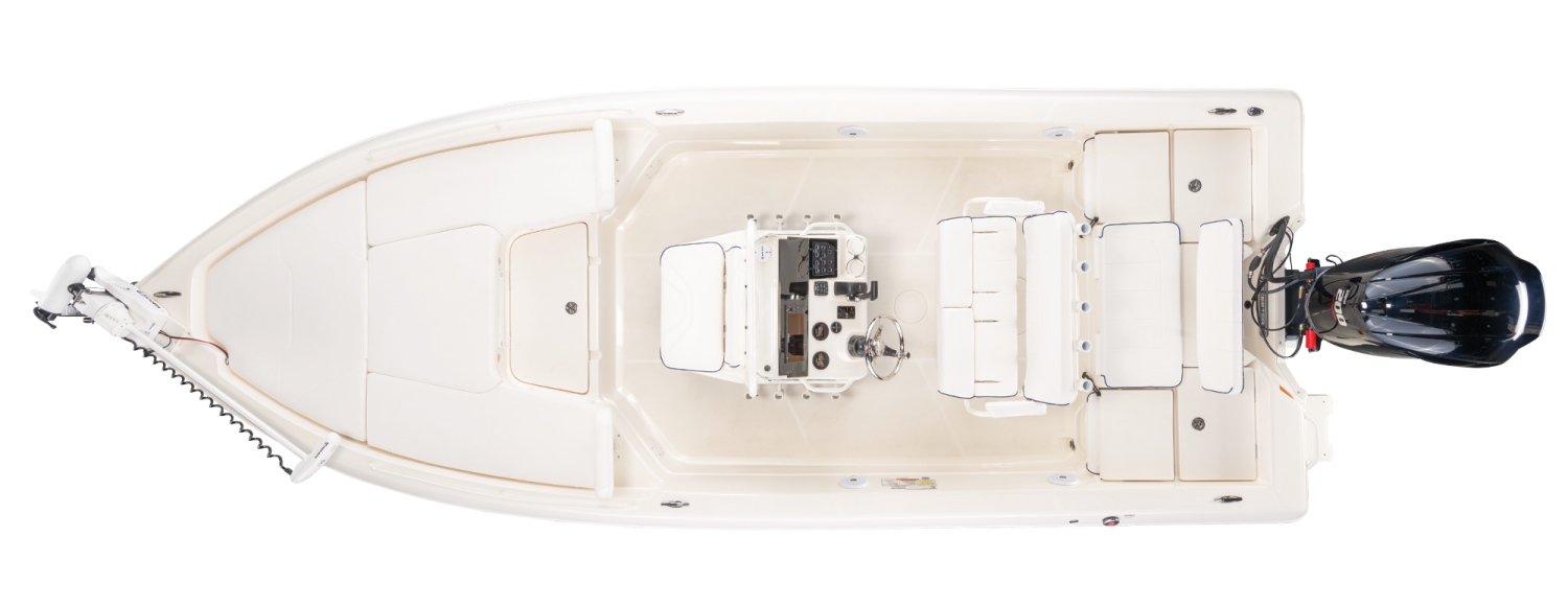 2021 Skeeter SX2250 Bay Boat For Sale overhead image with storage compartments closed.