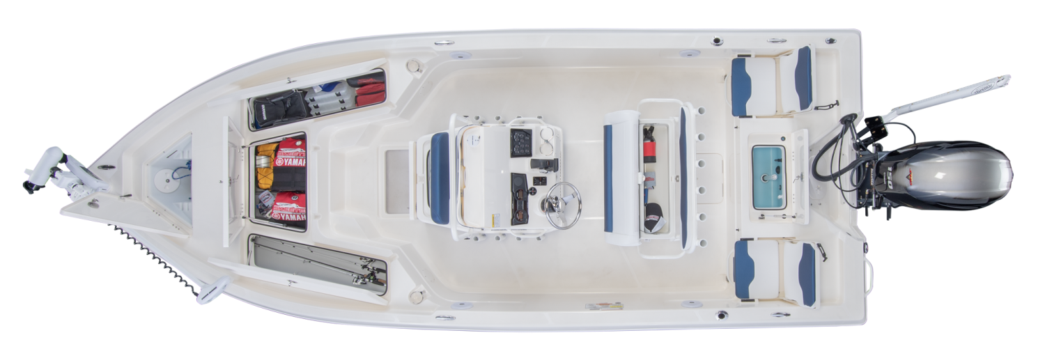 2021 Skeeter SX210 Bay Boat For Sale overhead image with storage compartments open.