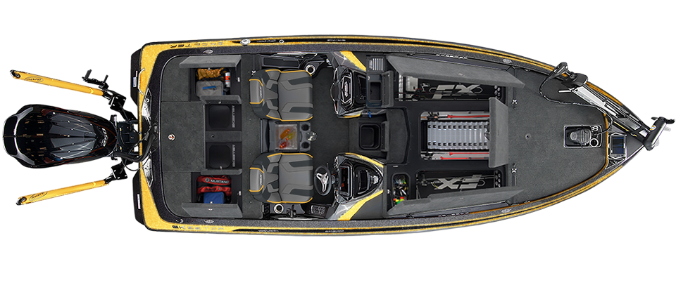2018 Skeeter FX21 LE Bass Boat For Sale overhead image with storage compartments open.