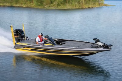 bass boat speeds across smooth water