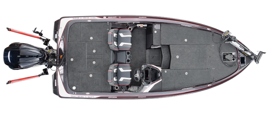 2018 Skeeter FX20 LE Bass Boat For Sale overhead image with storage compartments closed.