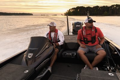 two anglers ride in fx20le at dust
