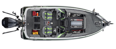 overhead picture of spacious tournament bass boat