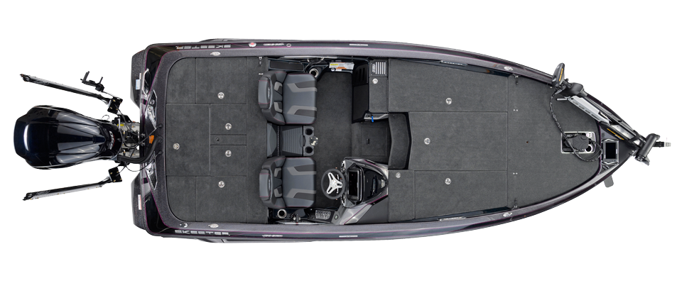 2018 Skeeter FX20 Bass Boat For Sale overhead image with storage compartments closed.