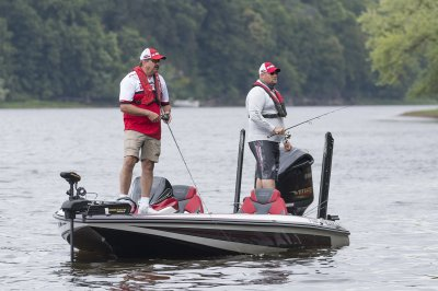 two anglers fish comfortable from spacious deck of fx20