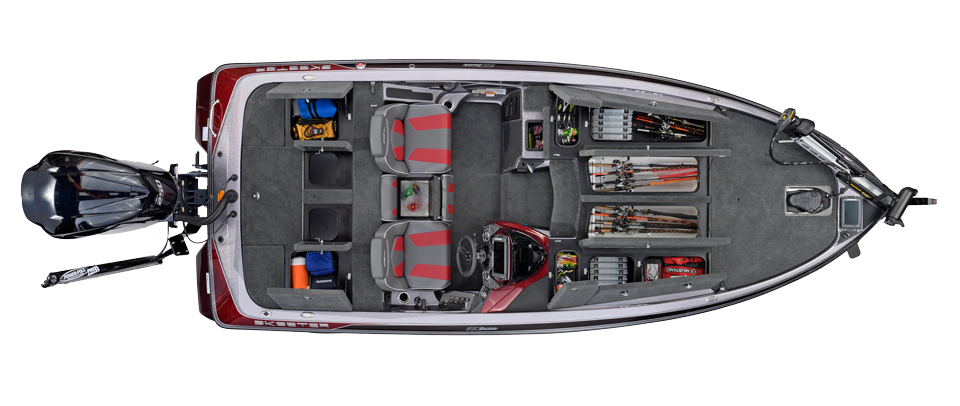 2018 Skeeter ZX250 Bass Boat For Sale overhead image with storage compartments open.