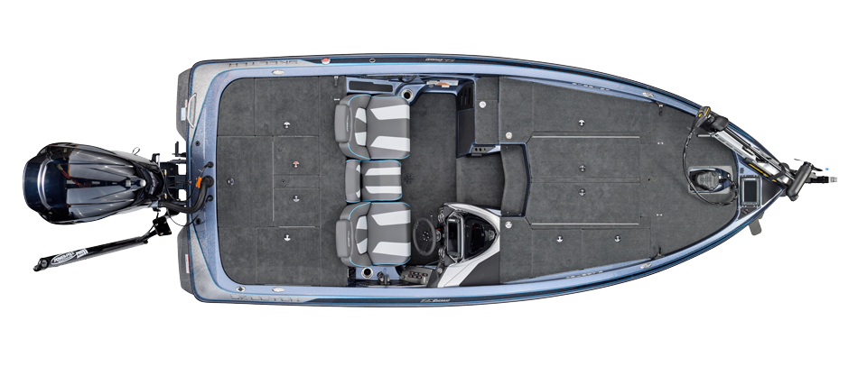 2018 Skeeter ZX225 Bass Boat For Sale overhead image with storage compartments closed.