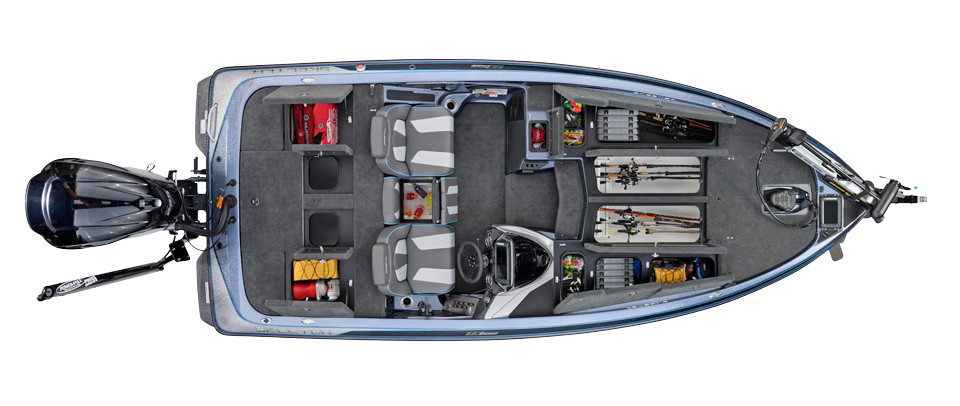 2018 Skeeter ZX225 Bass Boat For Sale overhead image with storage compartments open.