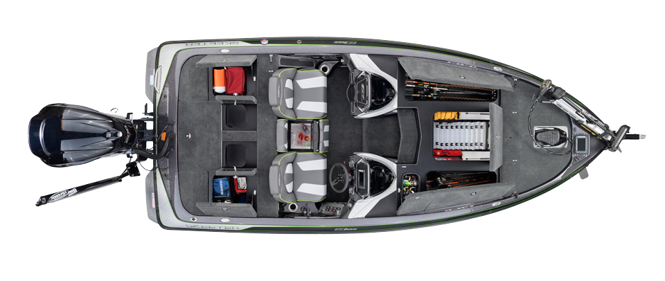 2018 Skeeter ZX200 Bass Boat For Sale overhead image with storage compartments open.