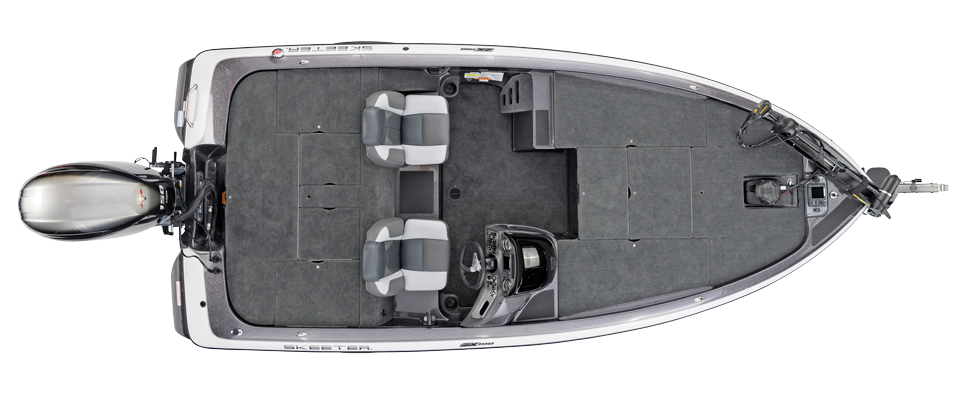 2018 Skeeter ZX190 Bass Boat For Sale overhead image with storage compartments closed.