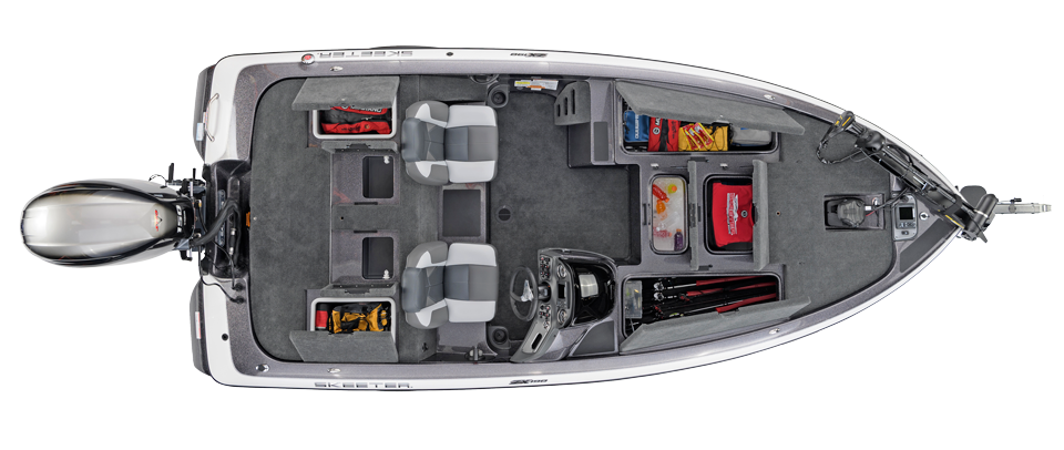 2018 Skeeter ZX190 Bass Boat For Sale overhead image with storage compartments open.